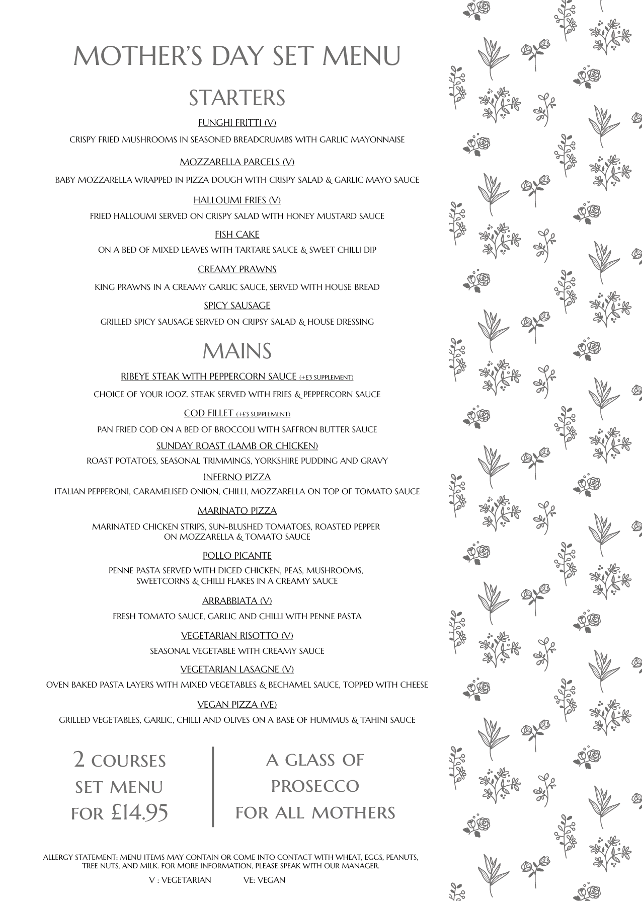 mothers day menu al dente restaurant lark lane liverpool 2020