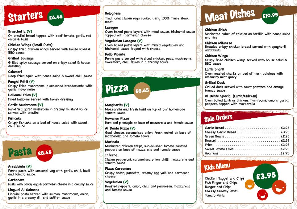 al dente takeaway menu